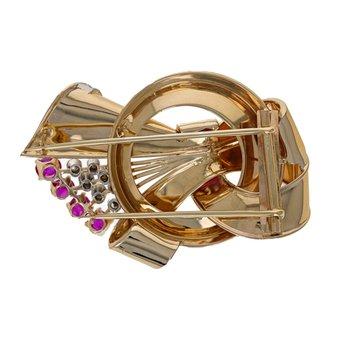 Diamond & Ruby Corsage Pin