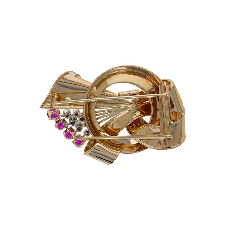 Estate Radcliffe Diamond & Ruby Corsage Pin