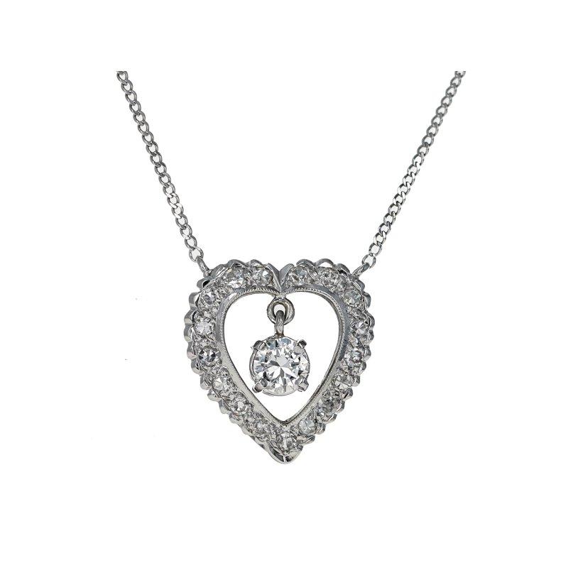 Estate Radcliffe Open Heart Diamond Necklace
