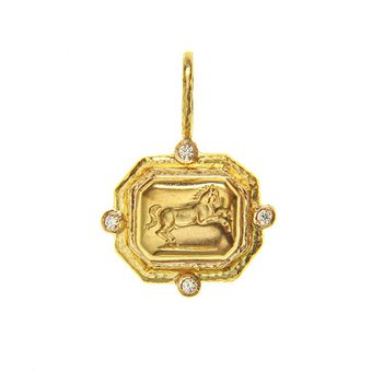 """Gold """"Octagonal Horse"""" Pendant with Jump Ring"""