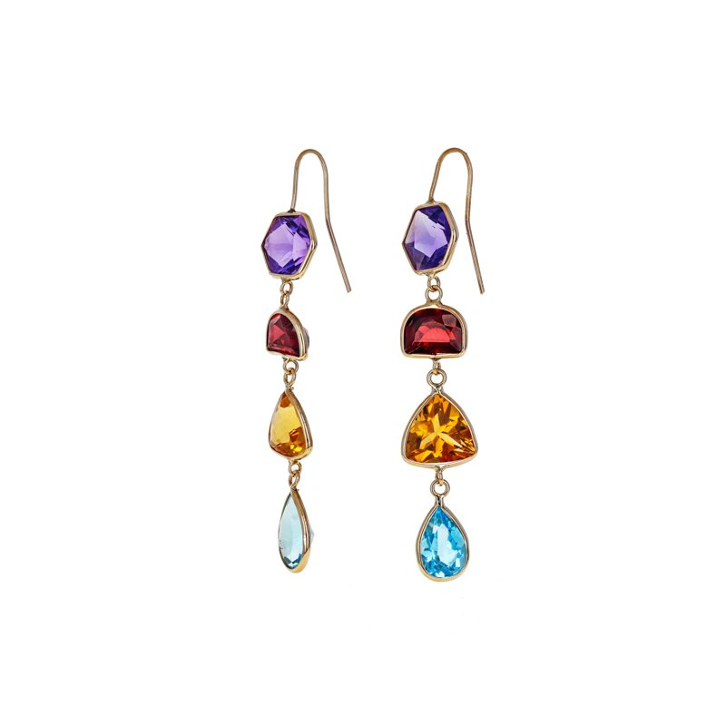 Estate Radcliffe Multicolor Gemstone Drop Earrings