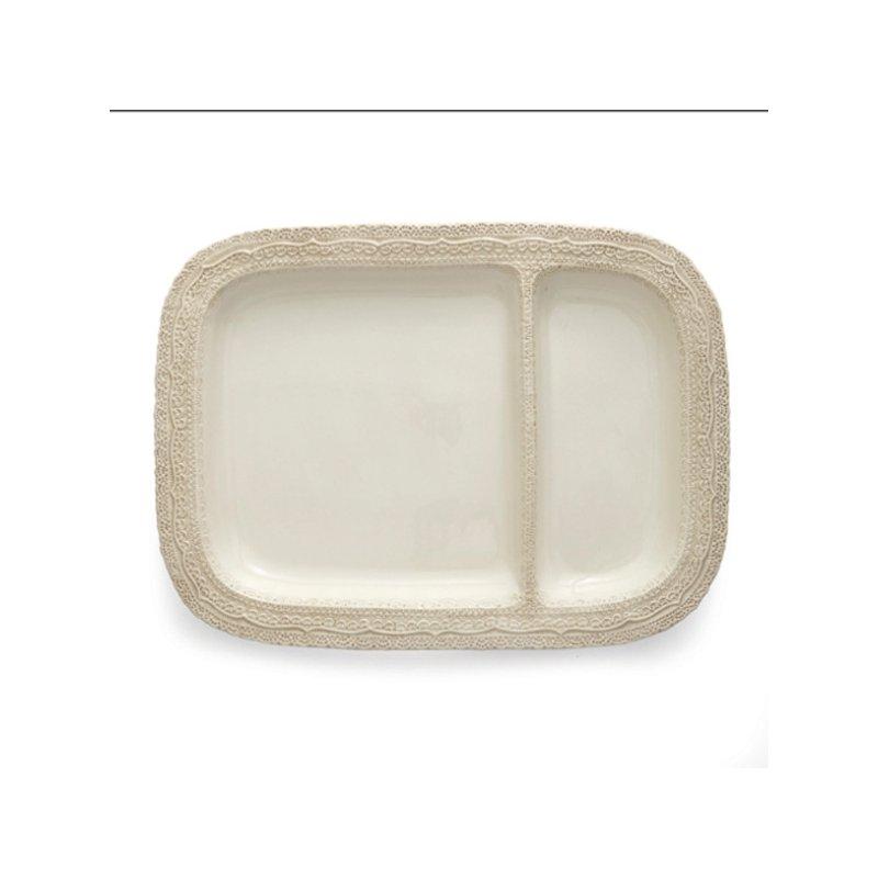 Arte Italica Finezza Cream 2-Section Server