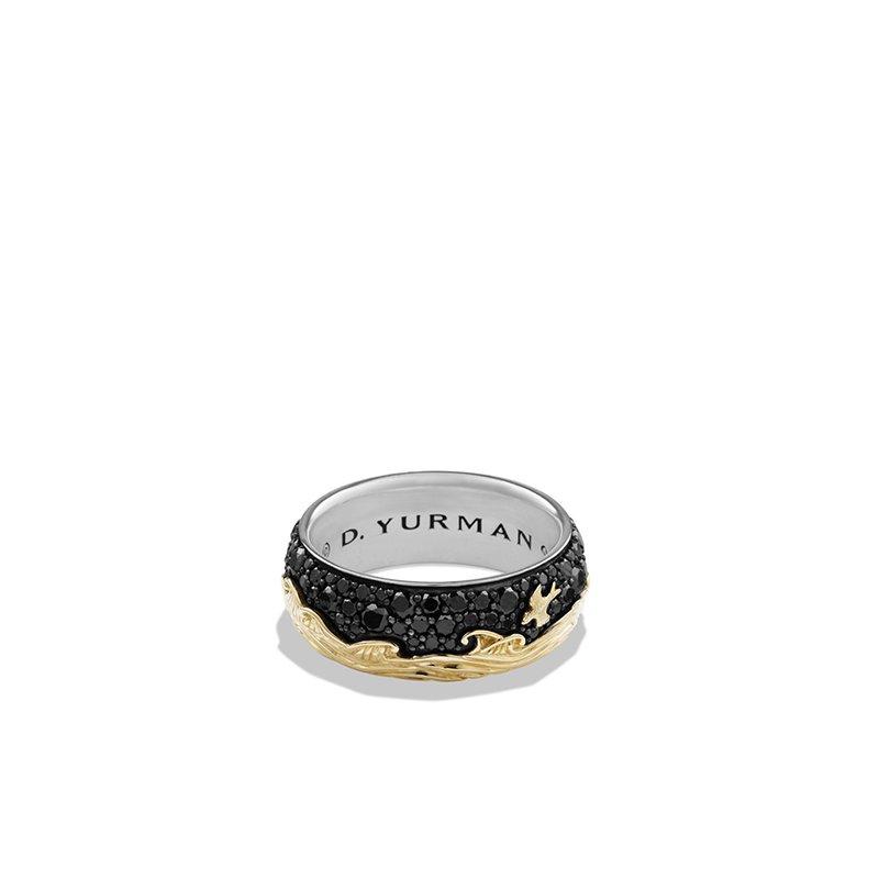 David Yurman Band Ring with 18K Gold and Black Diamonds