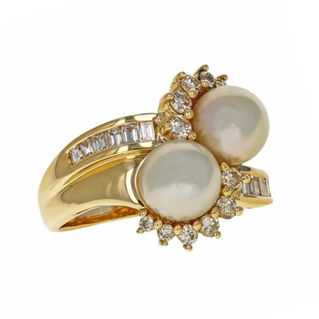Pearl & Diamond Bypass Ring