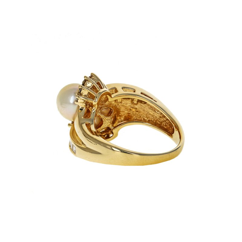 Estate Radcliffe Pearl & Diamond Bypass Ring