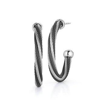 Black & Grey Twist Hoop Earrings