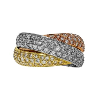Tri-Color Diamond Crossover Ring