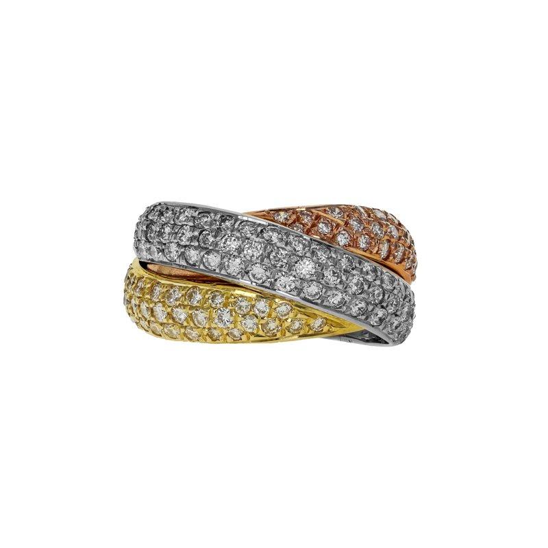 Estate Gregg Ruth Tri-Color Diamond Crossover Ring
