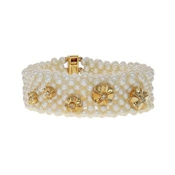 Mesh Pearl Flower Bracelet