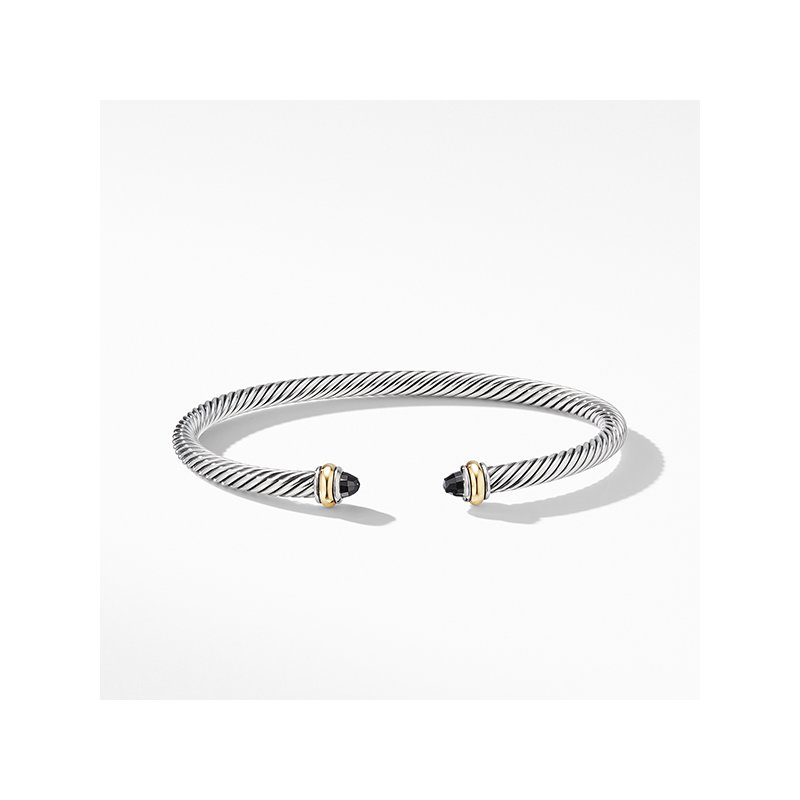 David Yurman Cable Classic Bracelet with Black Onyx and 18K Yellow Gold