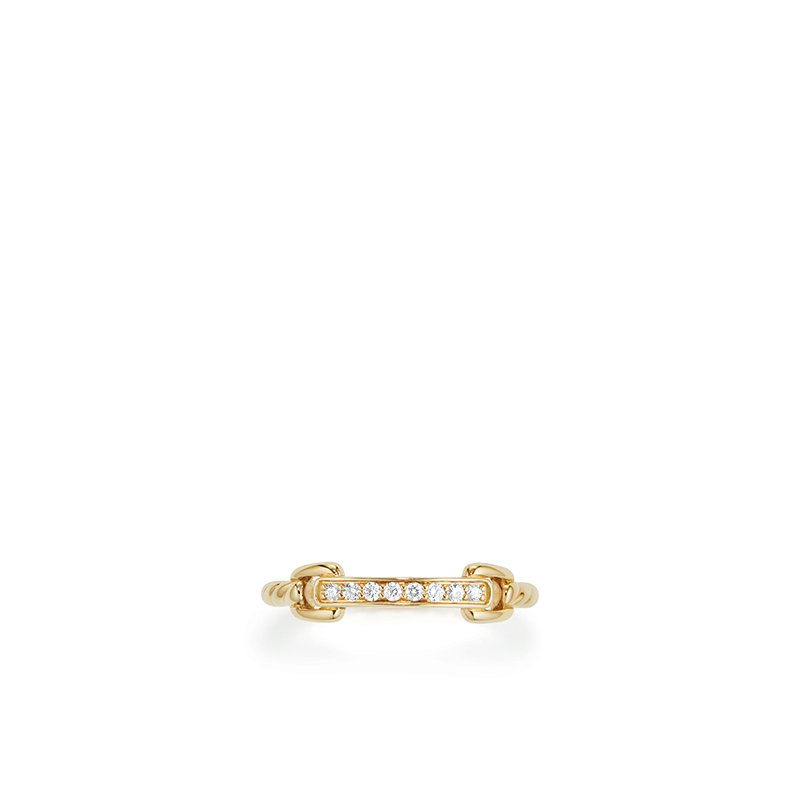 David Yurman Petite Pave Ring with Diamonds in 18K Gold