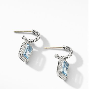 Novella Drop Earrings with Blue Topaz and Pave Diamonds
