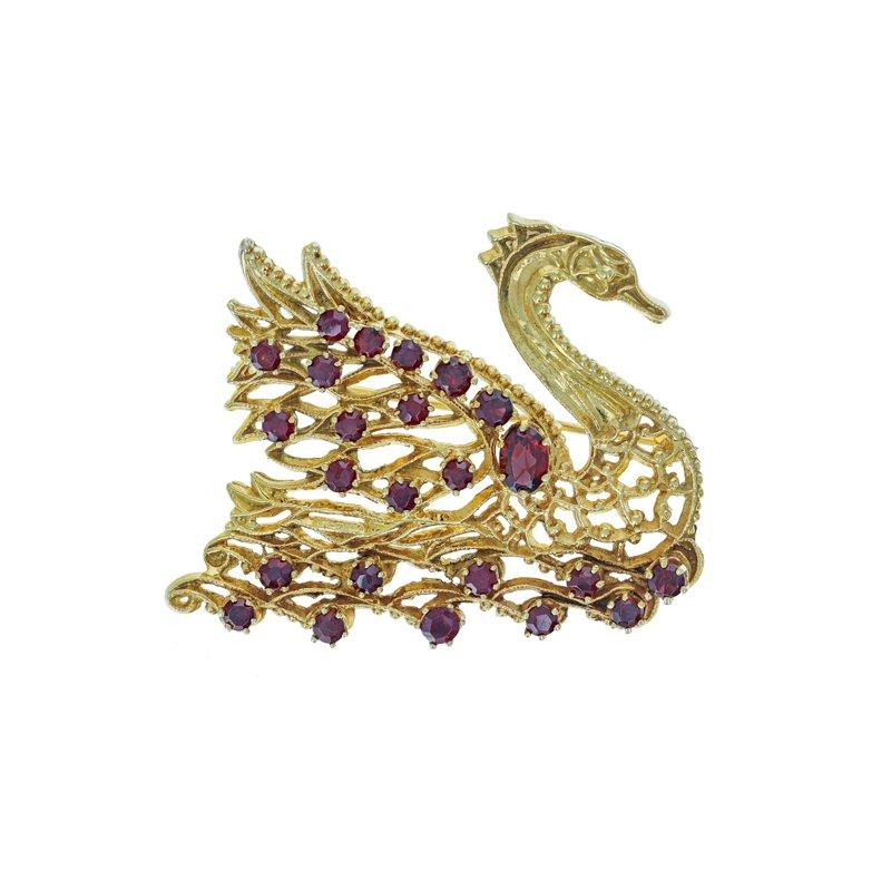 Estate Radcliffe Garnet Swan Brooch