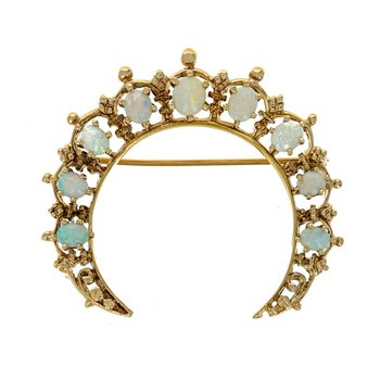 Opal Crescent Moon Pin