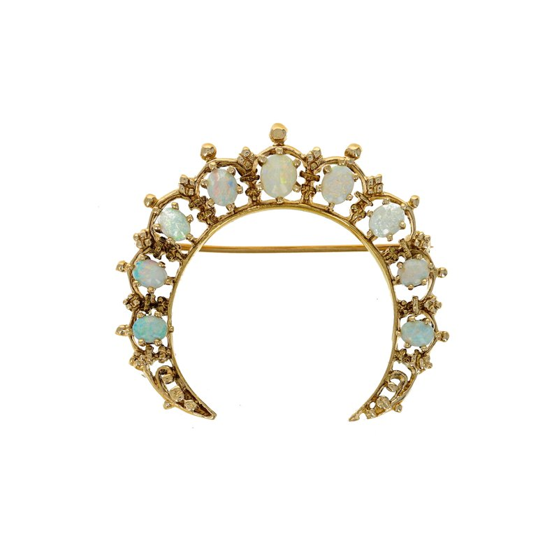 Estate Radcliffe Opal Crescent Moon Pin