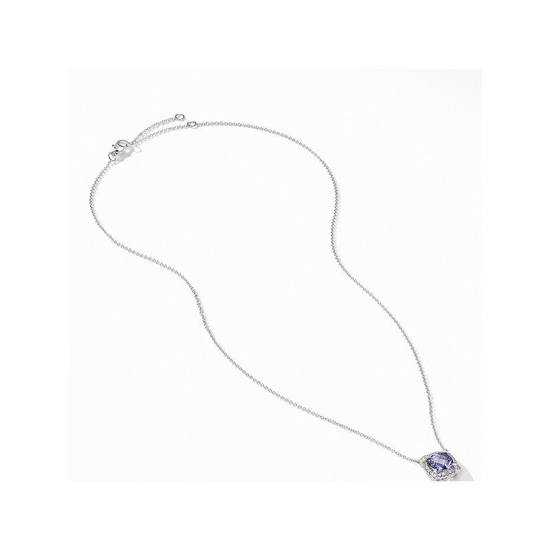 David Yurman Petite Chatelaine Pave Bezel Pendant Necklace in 18K White Gold with Tanzanite