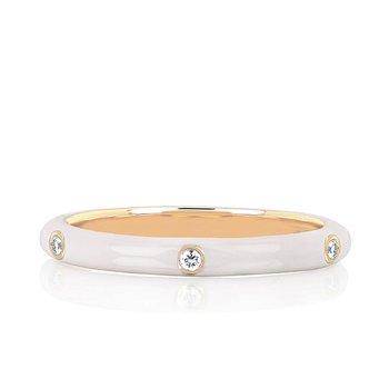 3 Diamond White Enamel Stack Ring