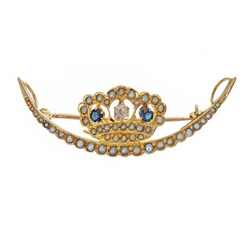 Diamond, Pearl & Sapphire Crown Crescent Pin