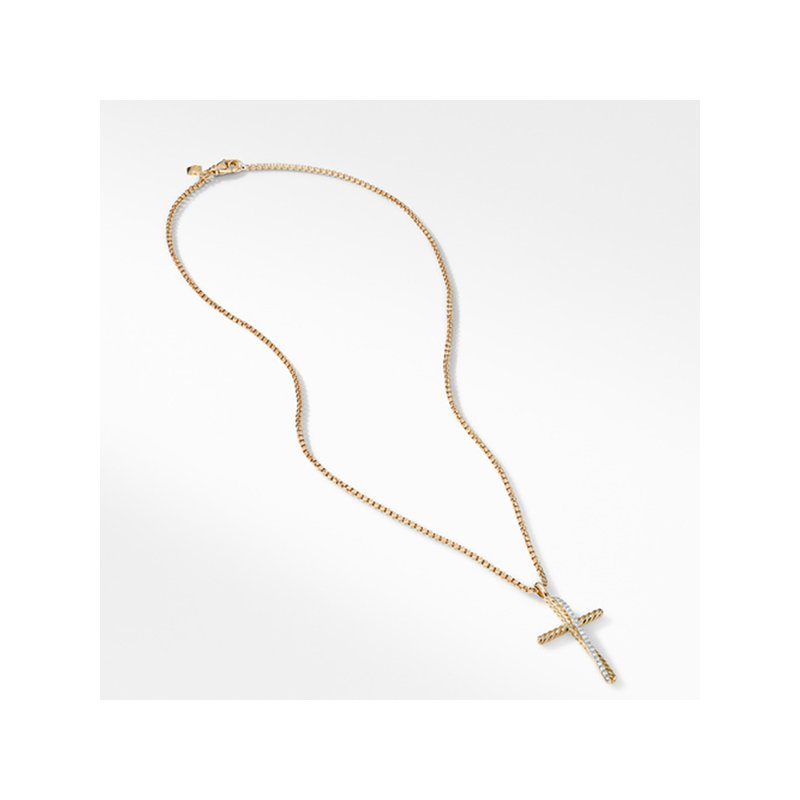 David Yurman The Crossover Collection Cross Necklace in 18K Yellow Gold with Pave Diamonds