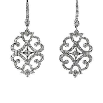 Diamond Scroll Dangle Earrings