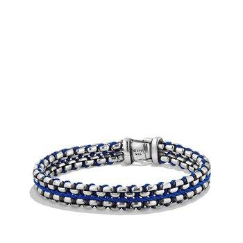 Woven Box Chain Bracelet in Blue