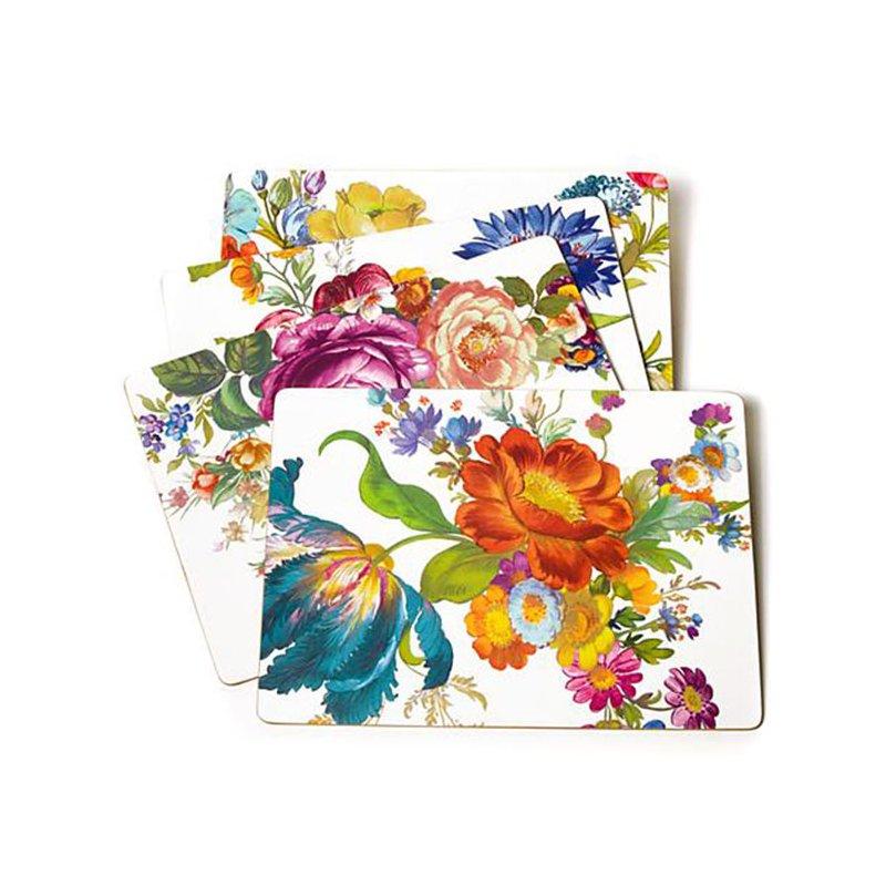 Mackenzie-Childs Flower Market Placemats, White, Set of 4