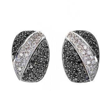 Black & White Diamond Half Hoop Earrings