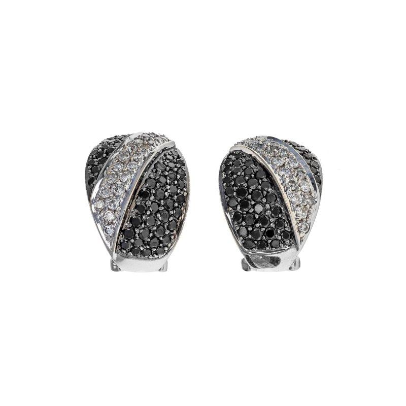 Estate Radcliffe Black & White Diamond Half Hoop Earrings