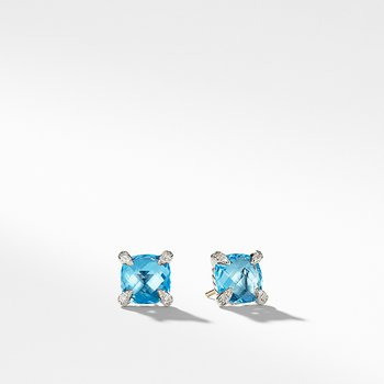 Chatelaine Stud Earrings with Blue Topaz and Diamonds, 9mm
