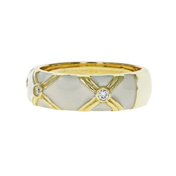 "Diamond & Enamel ""X"" Ring"