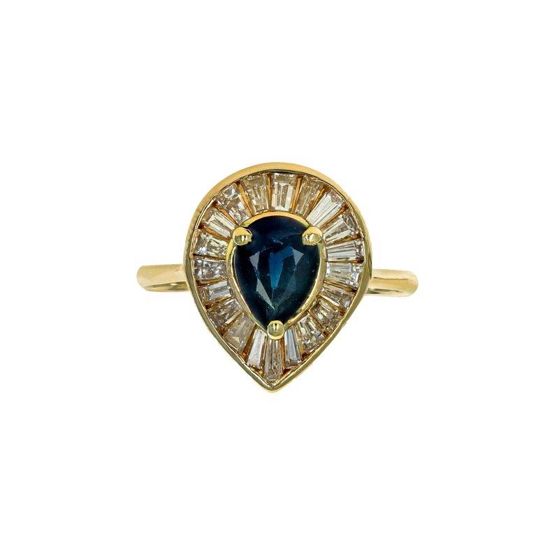 Estate Radcliffe Pear Shaped Sapphire & Diamond Ring