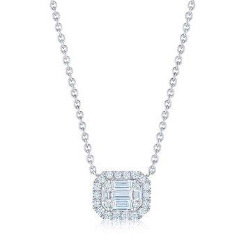 Sunburst Emerald Cut Diamond East-West Pendant with Halo