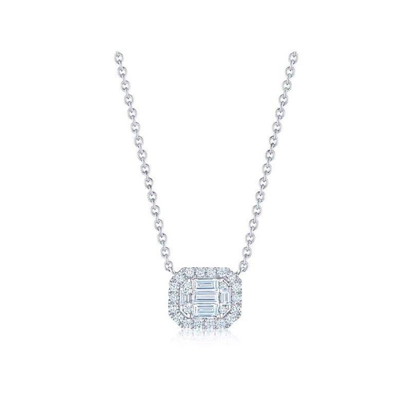 Kwiat Sunburst Emerald Cut Diamond East-West Pendant with Halo