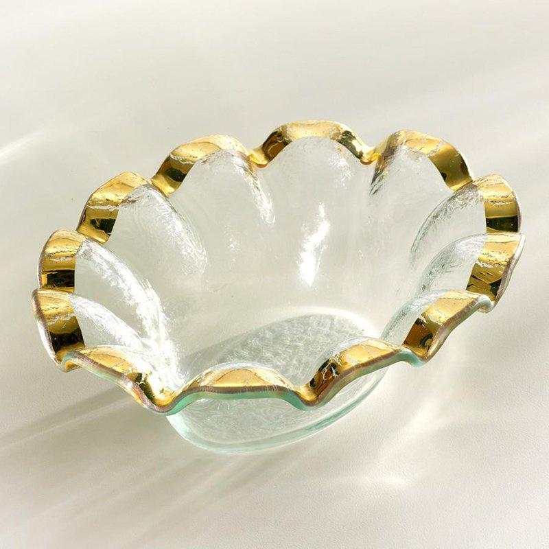 Annieglass Gold Ruffle Dip Bowl