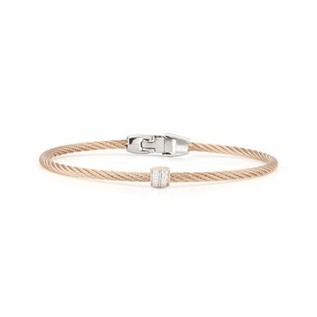 Carnation Cable Single Barrel Station Bracelet