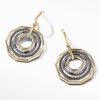 Stax Large Drop Earrings in Blackened Silver with Diamonds