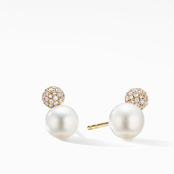 Solari Stud Earrings in 18K Yellow Gold with Pearls and Diamonds