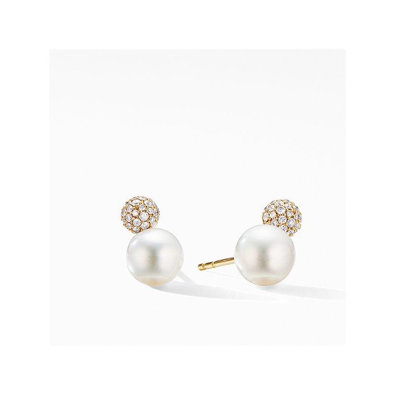 David Yurman Solari Stud Earrings in 18K Yellow Gold with Pearls and Diamonds