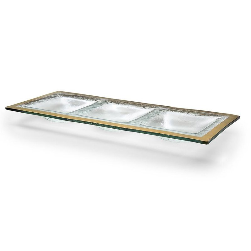 Annieglass Roman Antique Gold 3 Section Tray