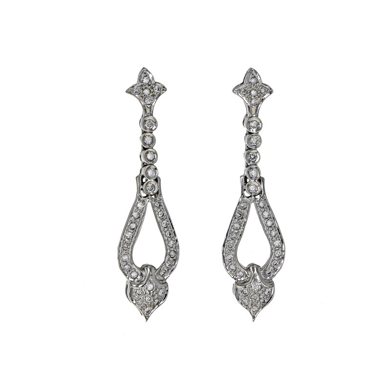 Estate Radcliffe Fleur De Lis Diamond Drop Earrings