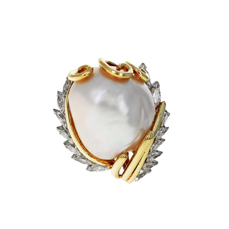 Estate Radcliffe Baroque Pearl & Diamond Cocktail Ring