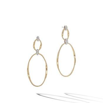 Marrakech Onde Yellow Gold and Diamond Flat Link Double Drop Earrings