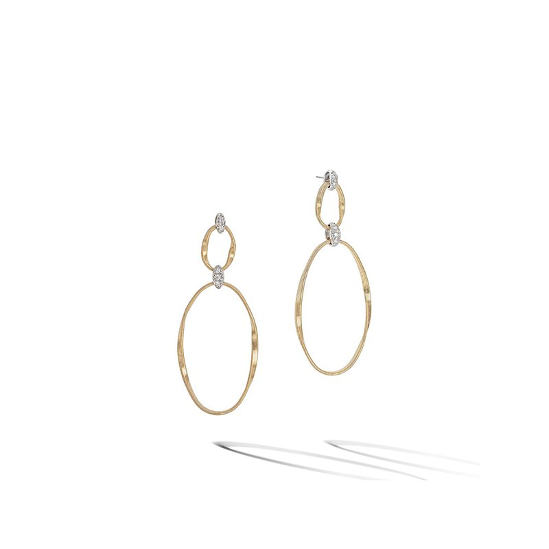 Marco Bicego Marrakech Onde Yellow Gold and Diamond Flat Link Double Drop Earrings