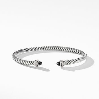 Cable Classic Bracelet with Black Onyx and Diamonds