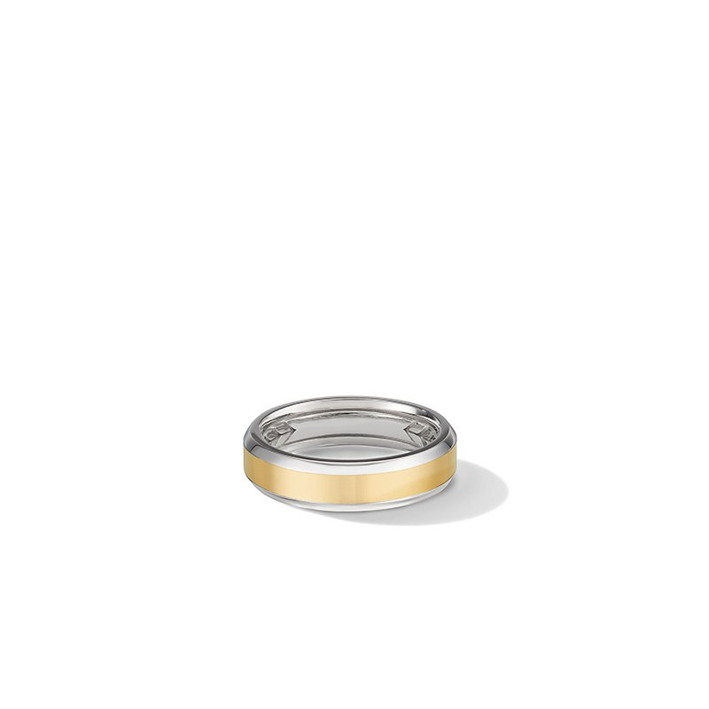 David Yurman Beveled Band Ring in 18K White and Yellow Gold