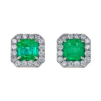 Emerald & Diamond Halo Earrings