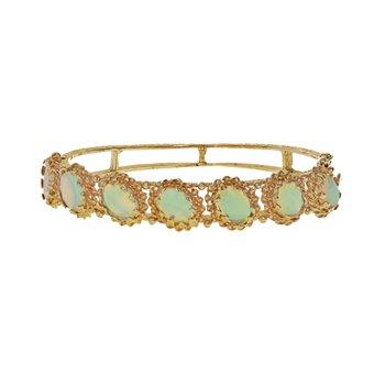 Decorative Opal Bangle Bracelet