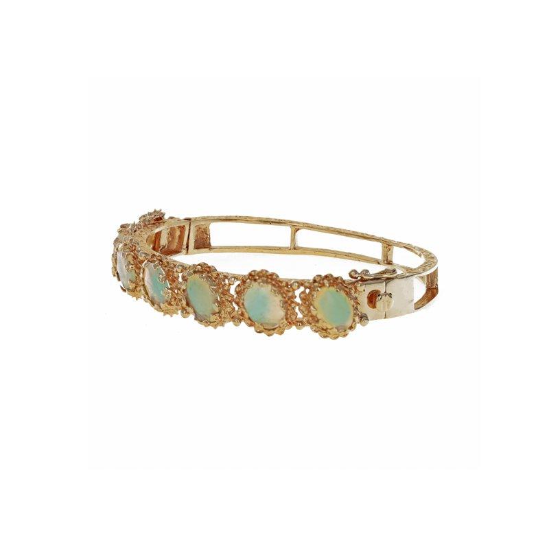 Estate Radcliffe Decorative Opal Bangle Bracelet