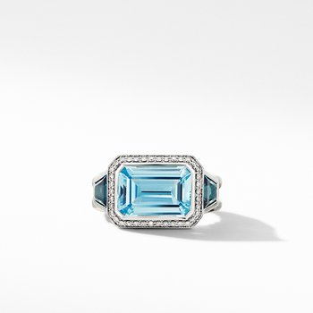 Novella Three Stone Ring with Blue Topaz and Pave Diamonds