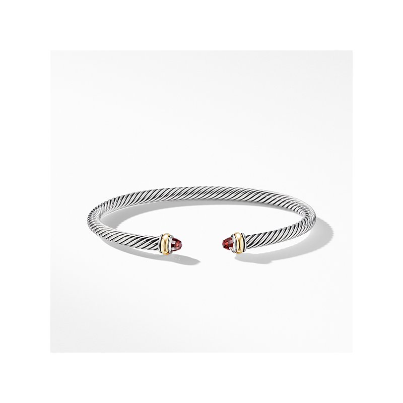 David Yurman Cable Classic Bracelet with Garnet and 18K Yellow Gold